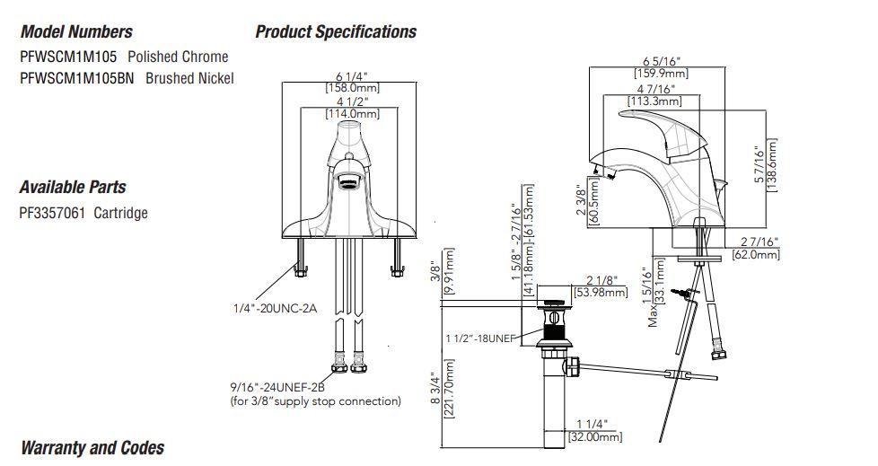 ProFlo Gerald Single Handle Centerset Bathroom Sink Faucet schematic