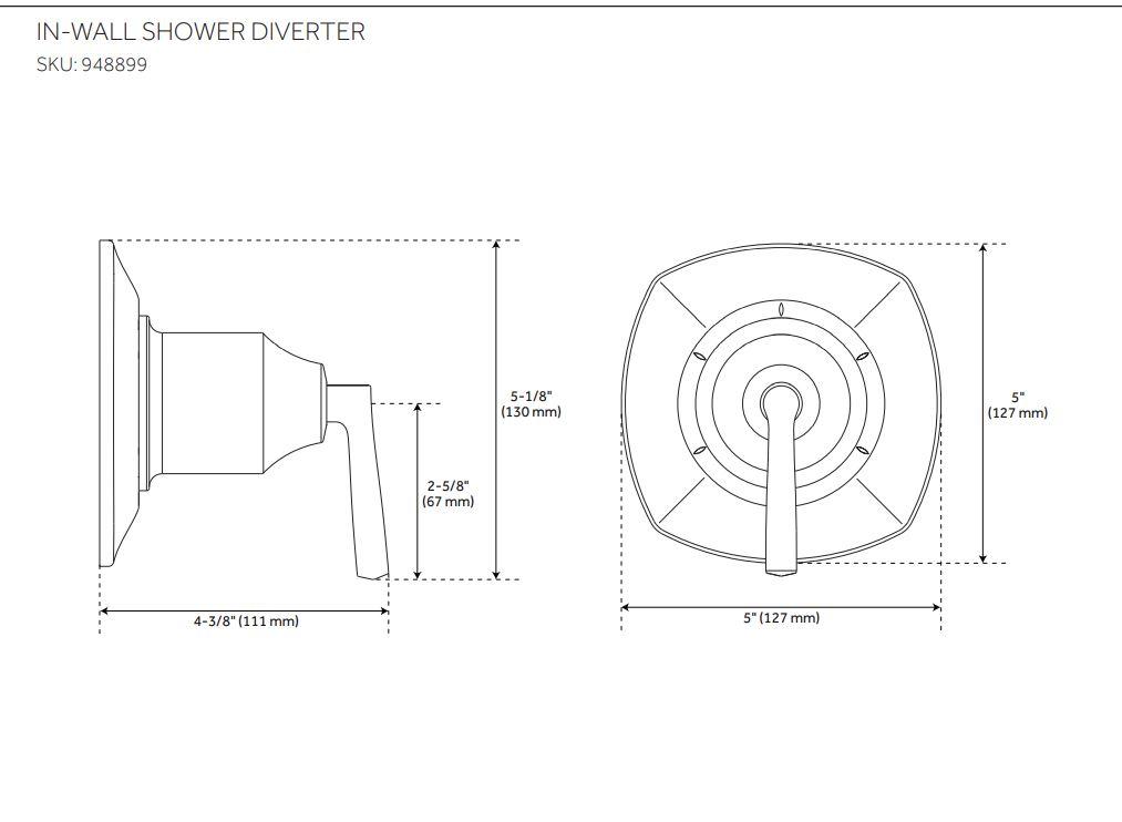 Carraway Pressure Balance Shower Trim Kit Schematic